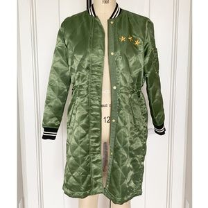 GAP Army Green Satin Quilted Embroidered Jacket